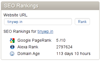 Piwik Stats showing PR5 for tinywp.in