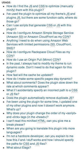 W3 Total Cache plugin - Screenshot of FAQ section