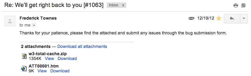 Screenshot of email from Frederick