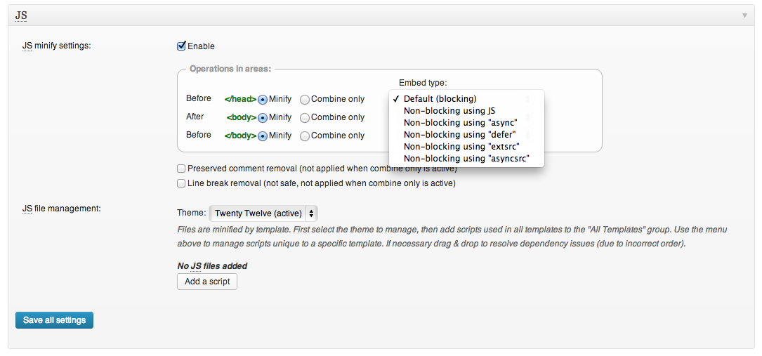 W3 Total Cache plugin - Screenshot of options under JS minify