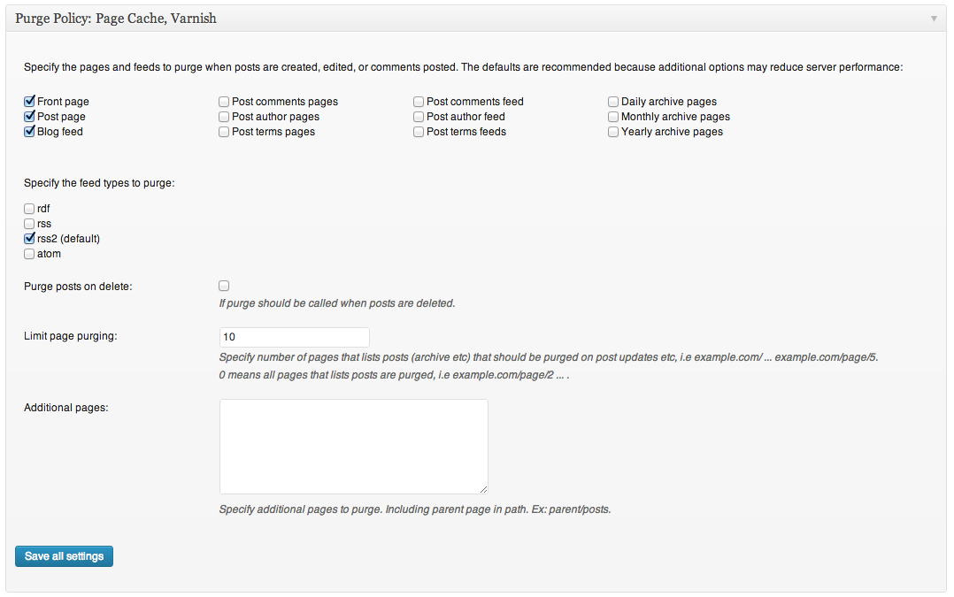 W3 Total Cache plugin - Screenshot of Purge policy